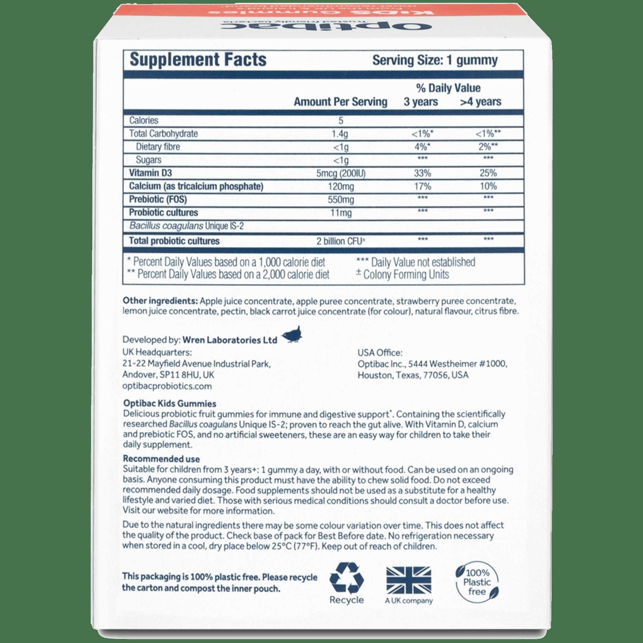 Optibac Probiotics | Kids Gummies | back | 30 gummies