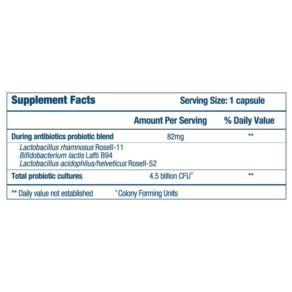 Optibac Probiotics For Those On Antibiotics - supplement fact panel