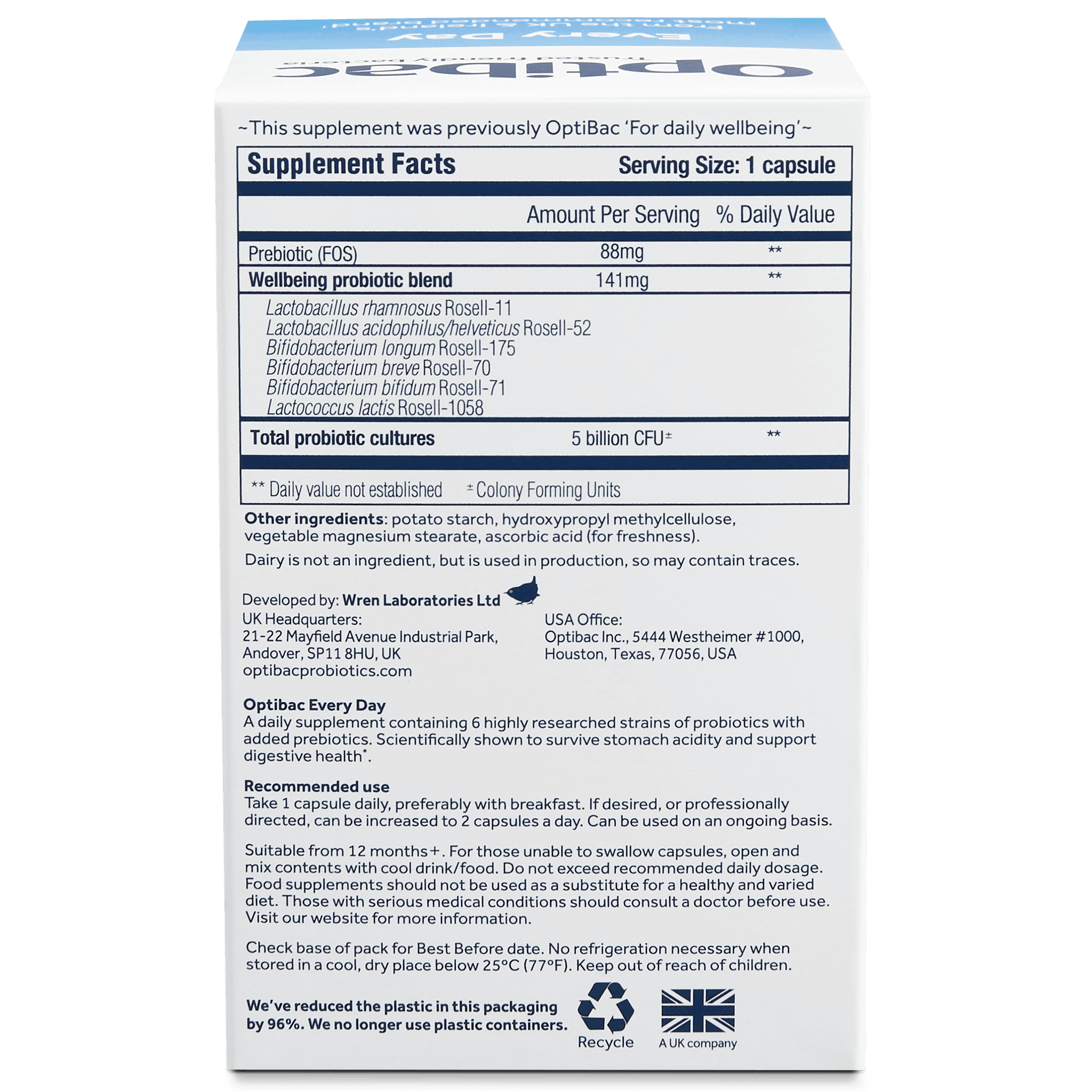 Optibac Probiotics | Every Day | back of pack | 30 capsules
