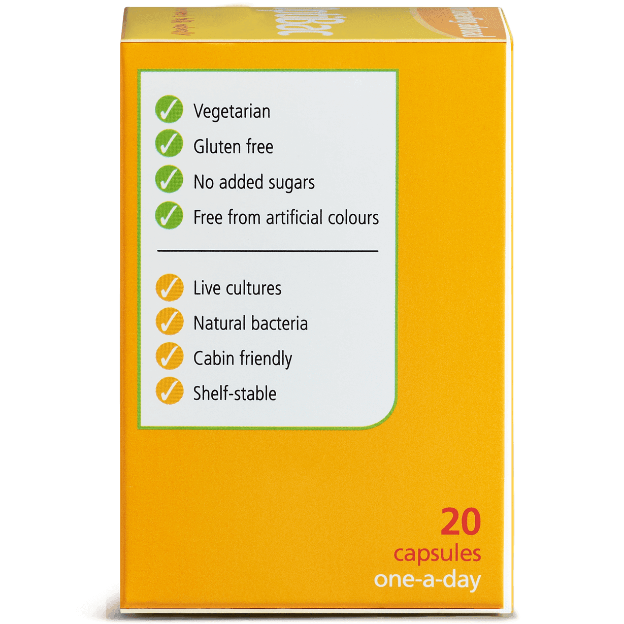 Optibac Probiotics For travelling abroad (20 capsules) pack side shot