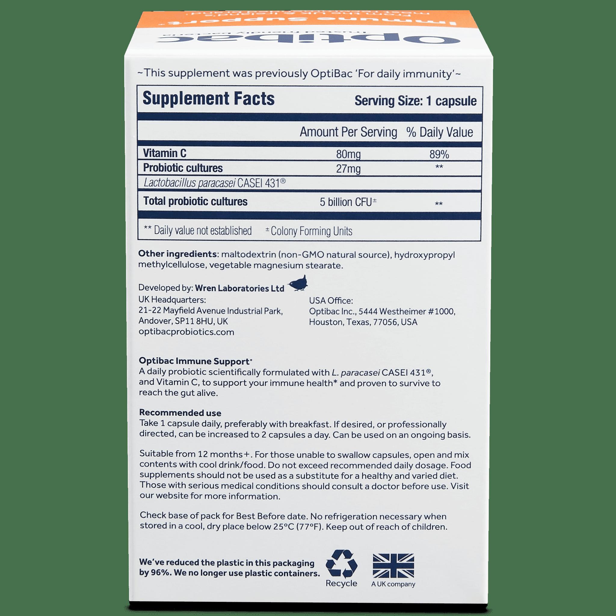 Optibac Probiotics | Immune Support | back of pack | 30 capsules