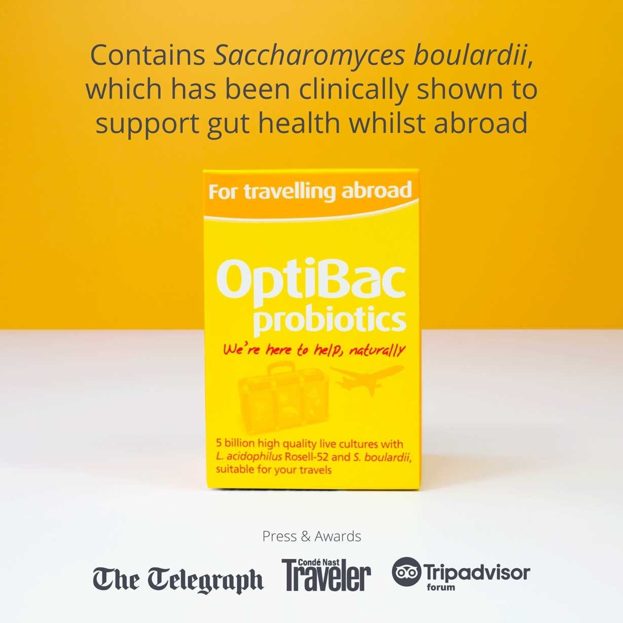 Optibac Probiotics For travelling abroad mentioned in press