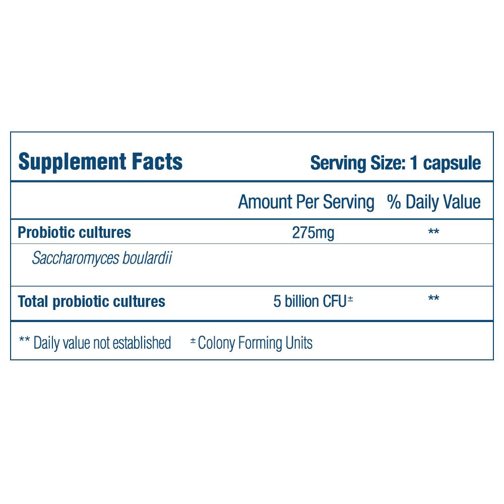 Optibac Probiotics Saccharomyces boulardii - supplement fact panel