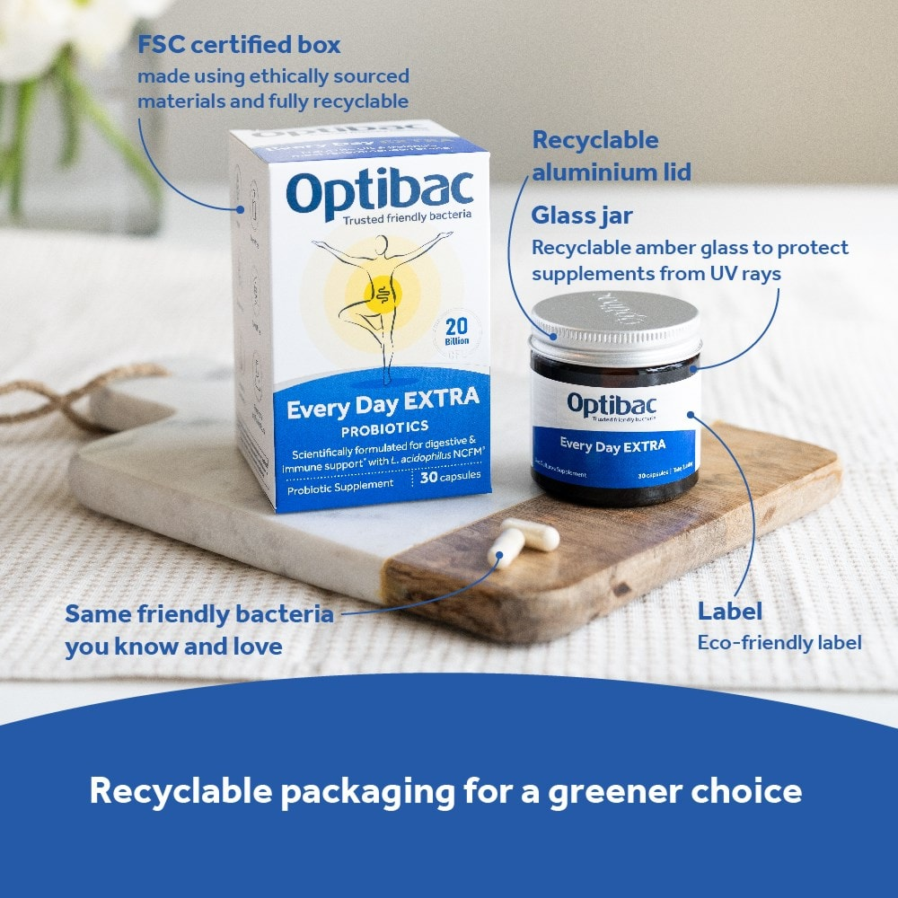 Optibac Probiotics Every Day EXTRA is recyclable