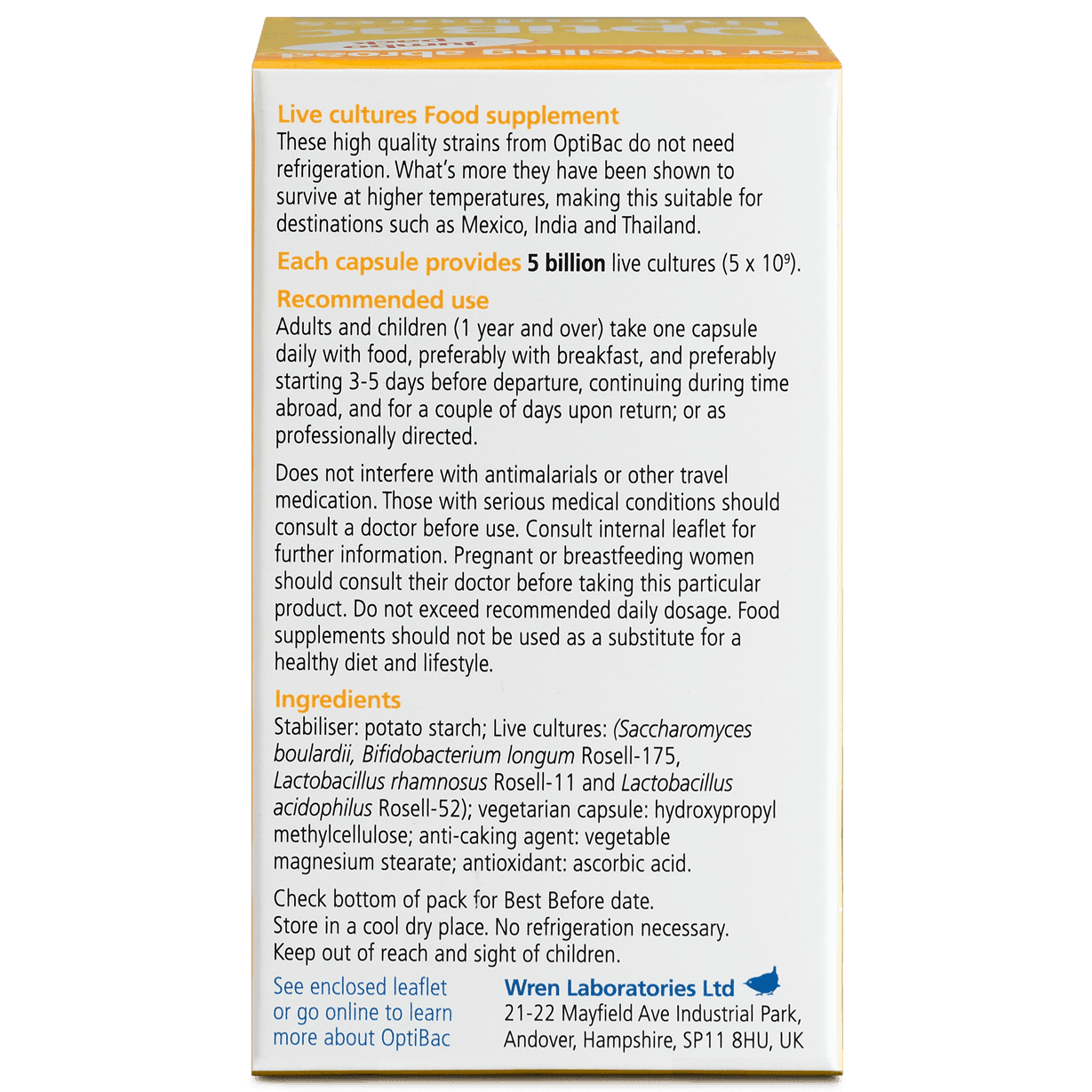 Optibac Probiotics | For travelling abroad | back of pack | 60 capsules