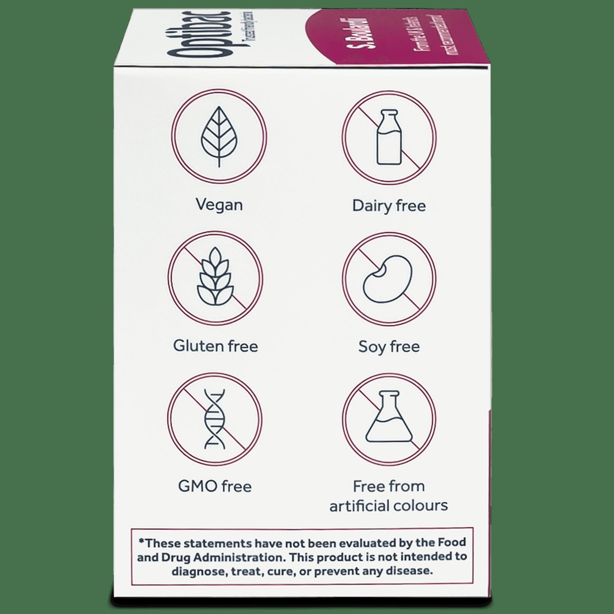 Optibac Probiotics Saccharomyces boulardii (16 capsules) pack side shot