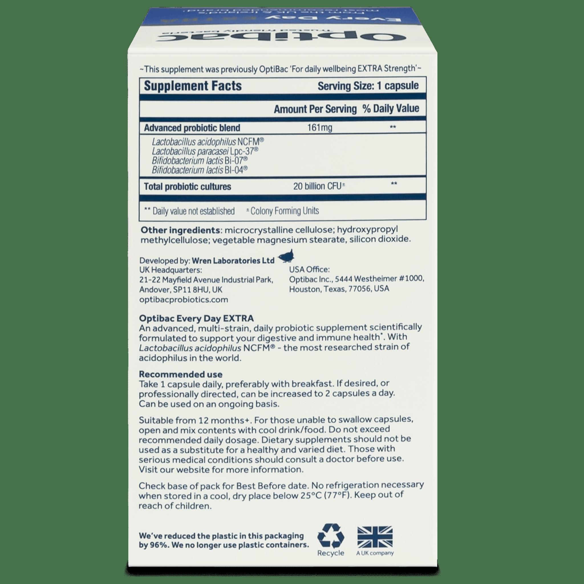 Optibac Probiotics Every Day EXTRA (90 capsules) pack back