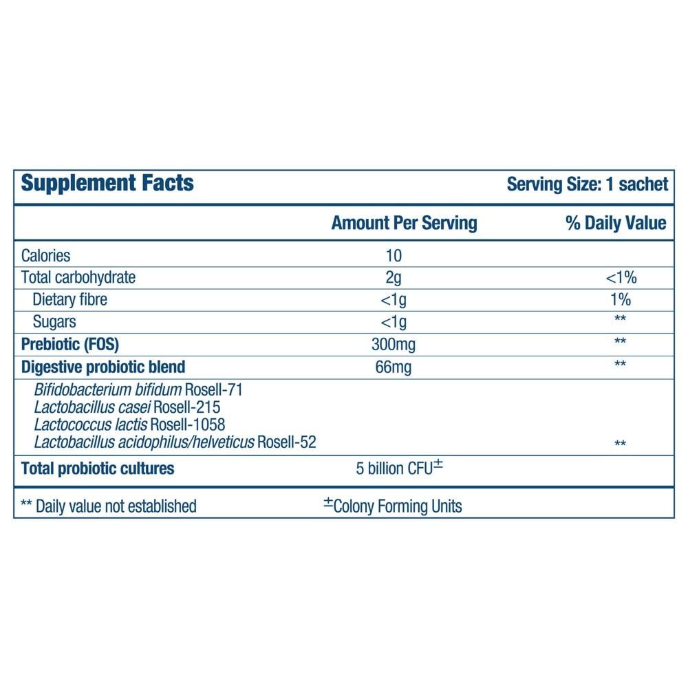 Optibac Probiotics One week flat - supplement fact panel