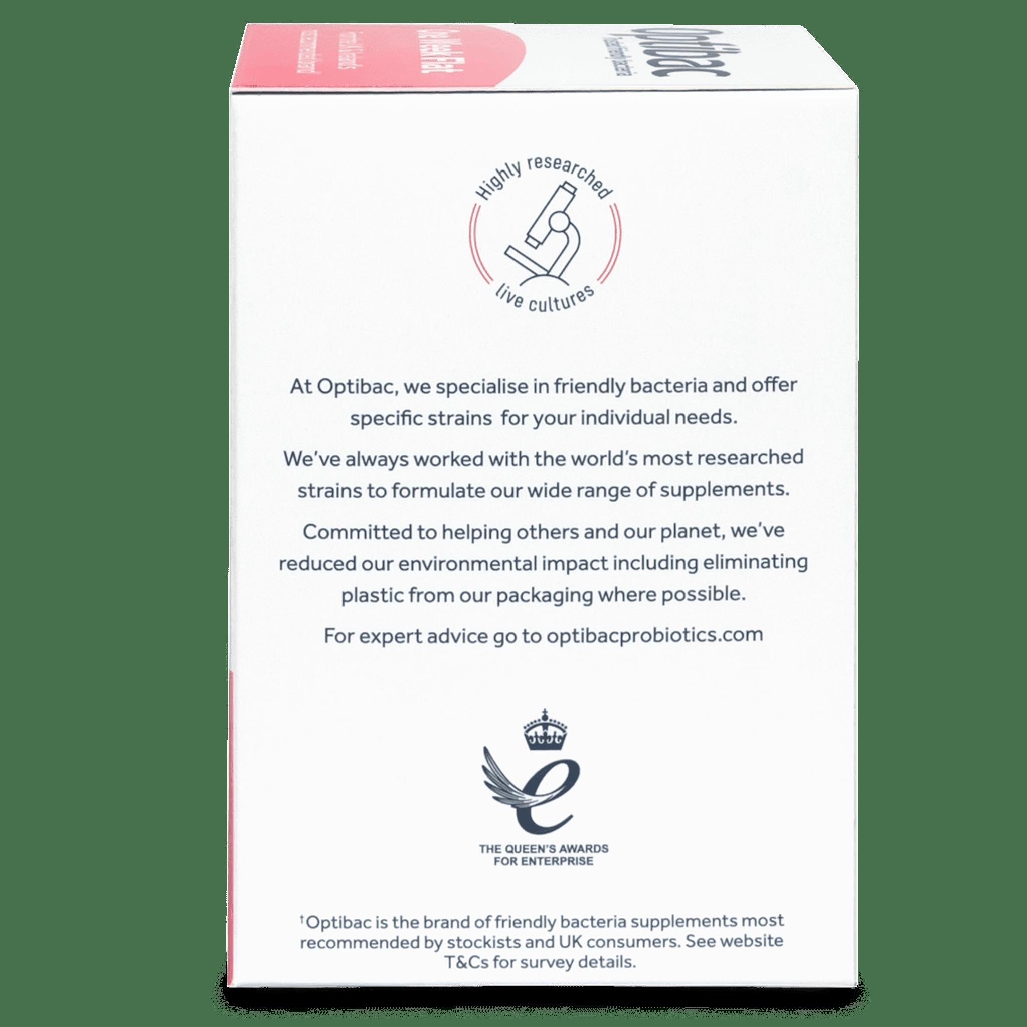 Optibac Probiotics One Week Flat (28 sachets) pack side shot