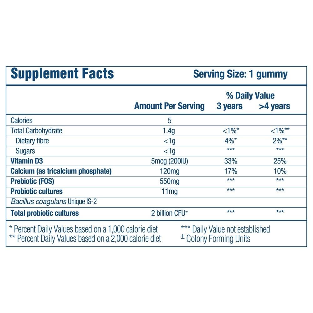 Optibac Probiotics Kids Gummies - supplement fact panel