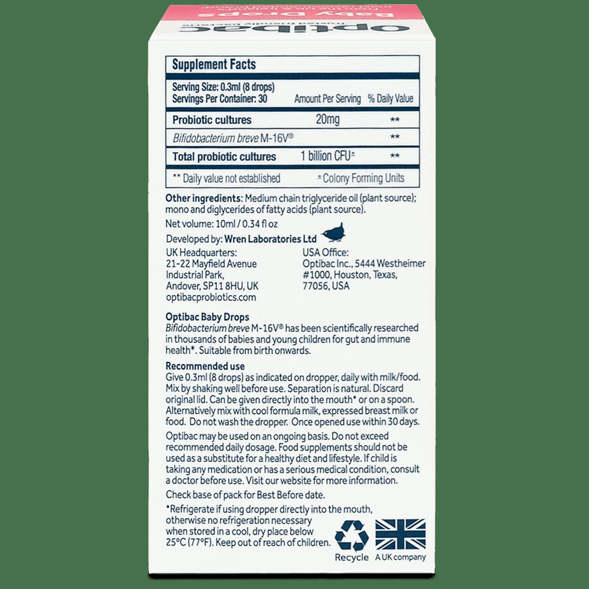 Optibac Probiotics | Baby Drops | back of pack | 30 servings