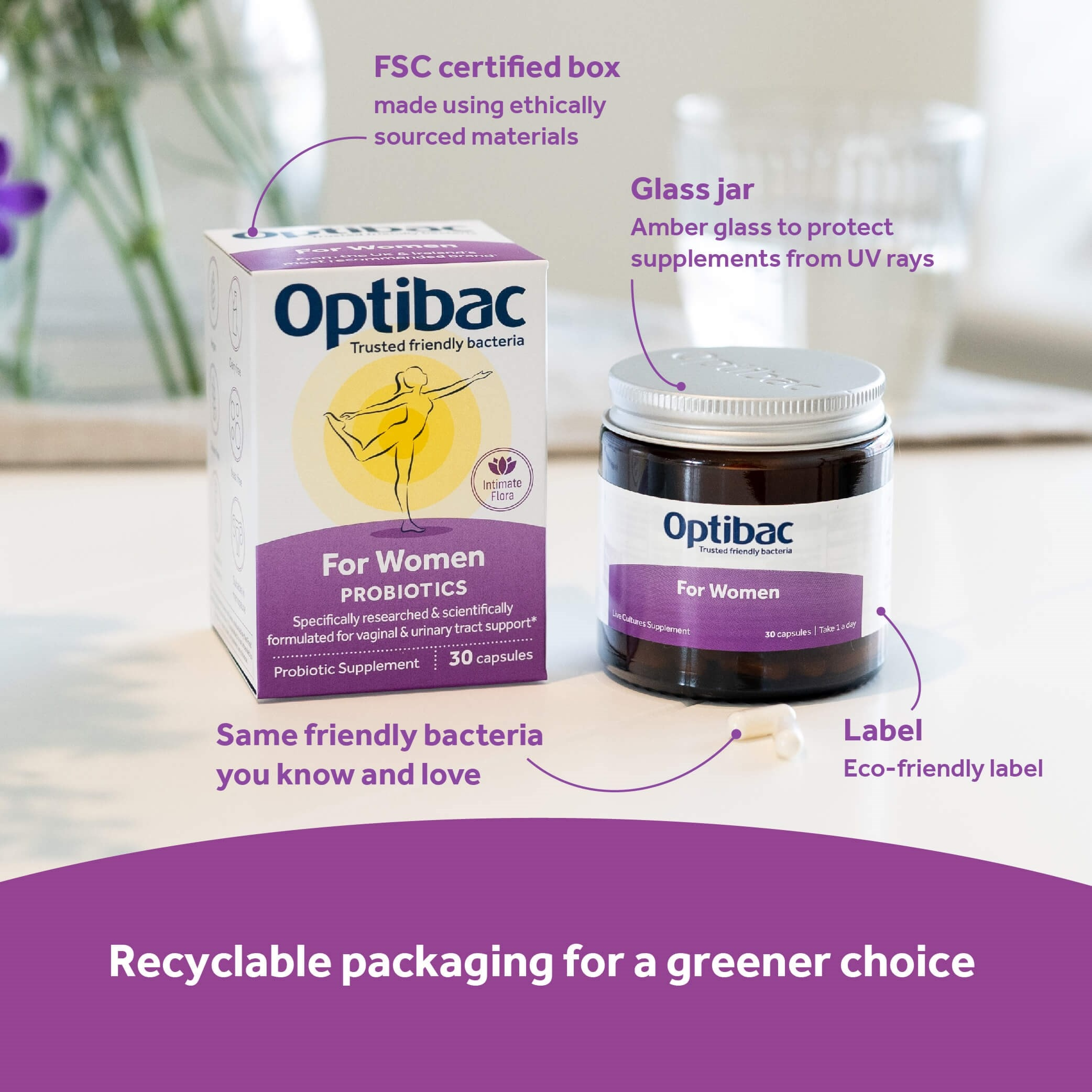 Optibac Probiotics For Women recyclable packaging