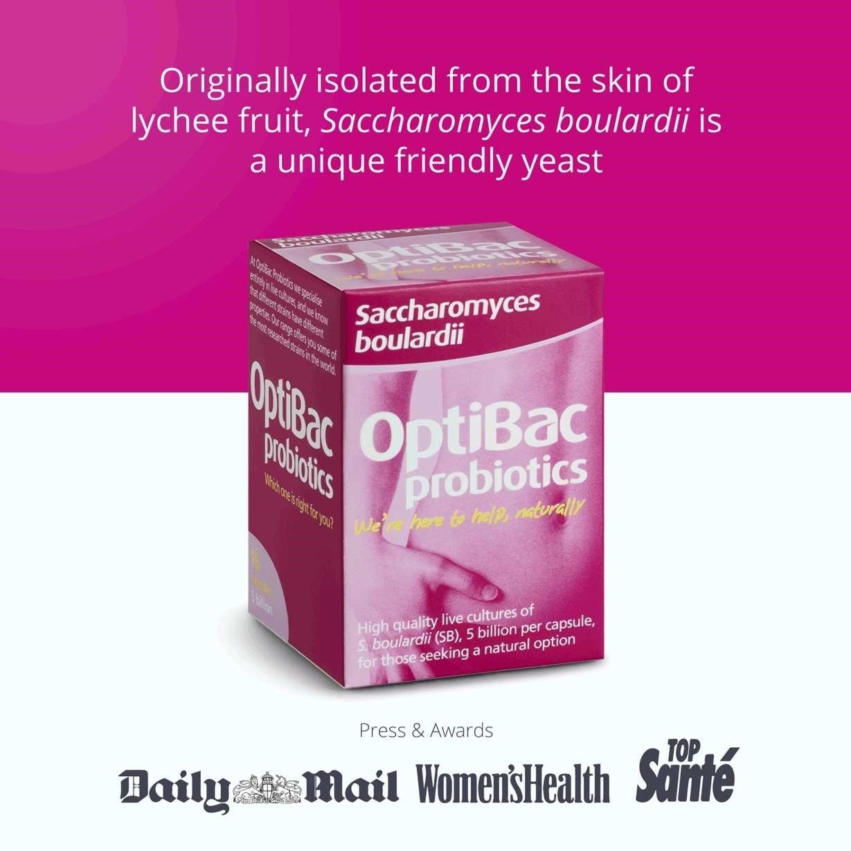 Optibac Probiotics Saccharomyces boulardii press