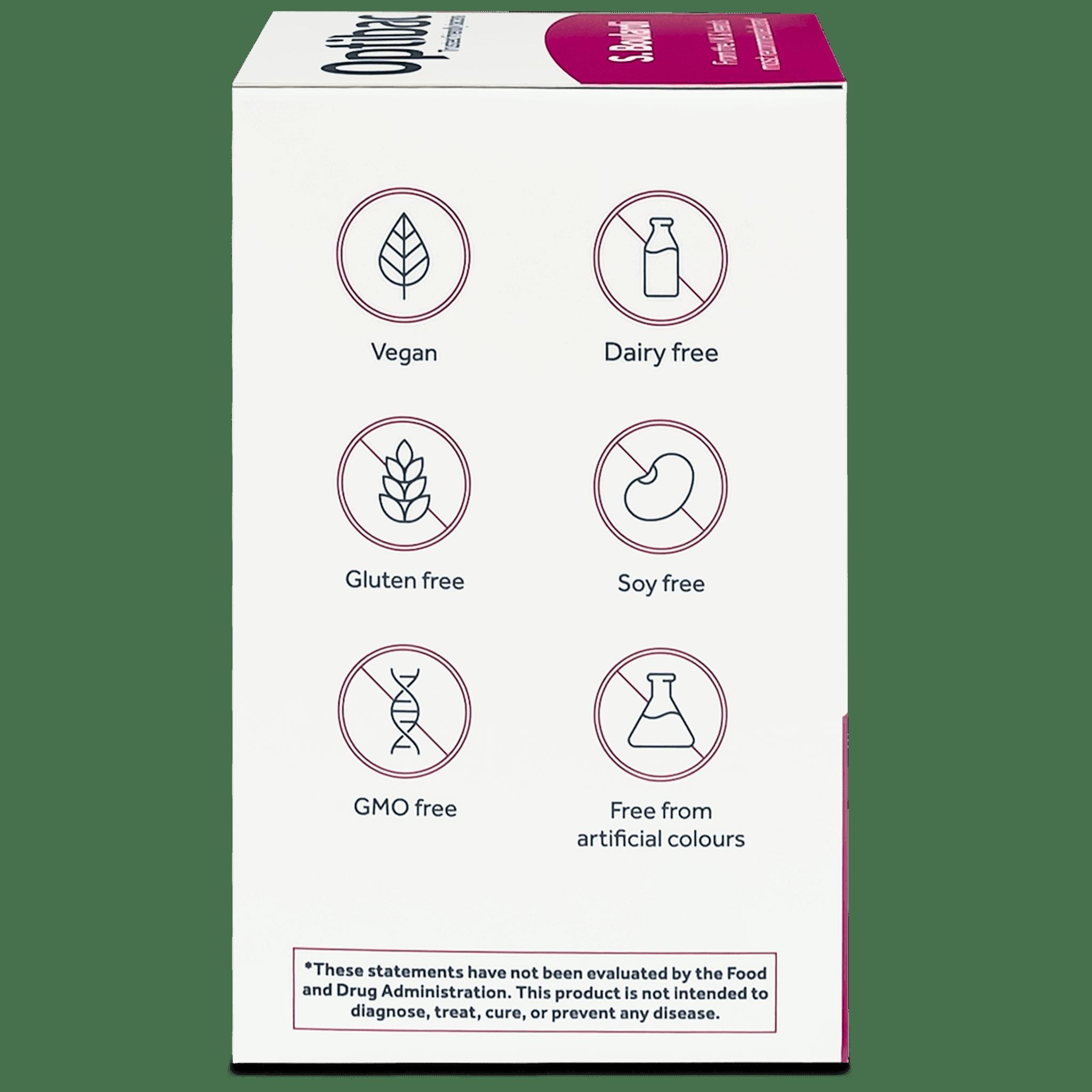 Optibac Probiotics | Saccharomyces boulardii | side of pack | 80 capsules