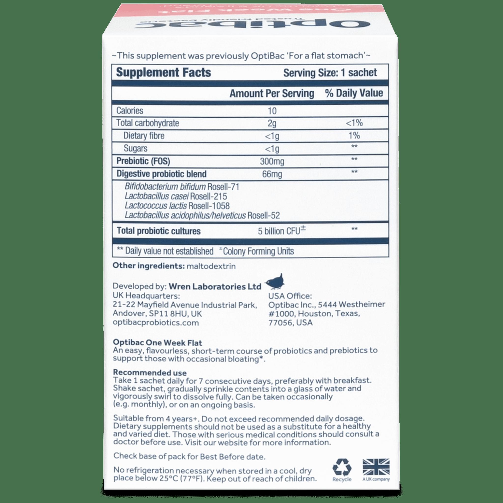 Optibac Probiotics One Week Flat (28 sachets) pack back