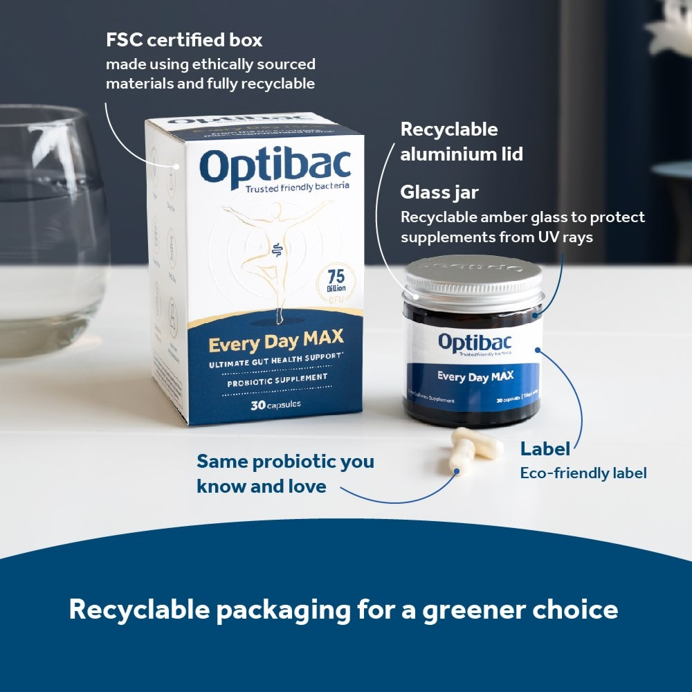 Optibac Probiotics Every Day MAX is recyclable