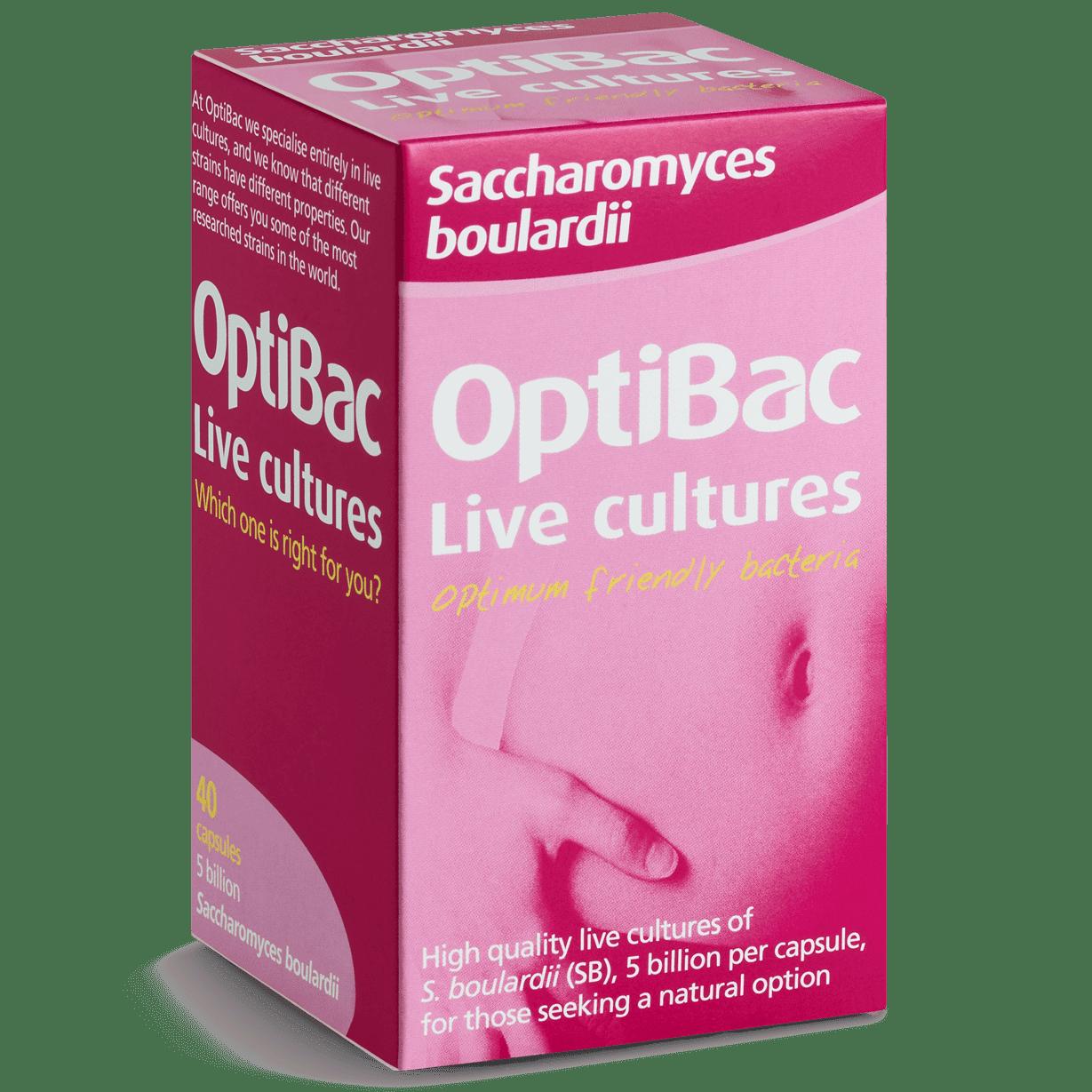 Optibac Probiotics Saccharomyces boulardii (40 capsules) angled pack shot