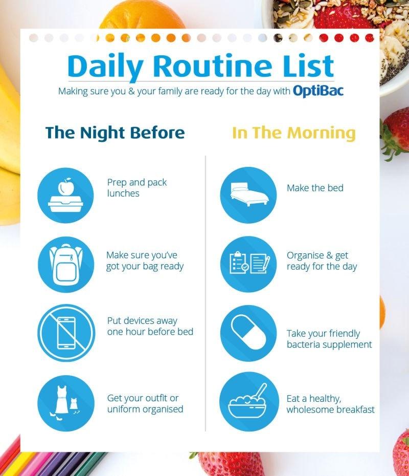 Optibac daily routine checklist poster