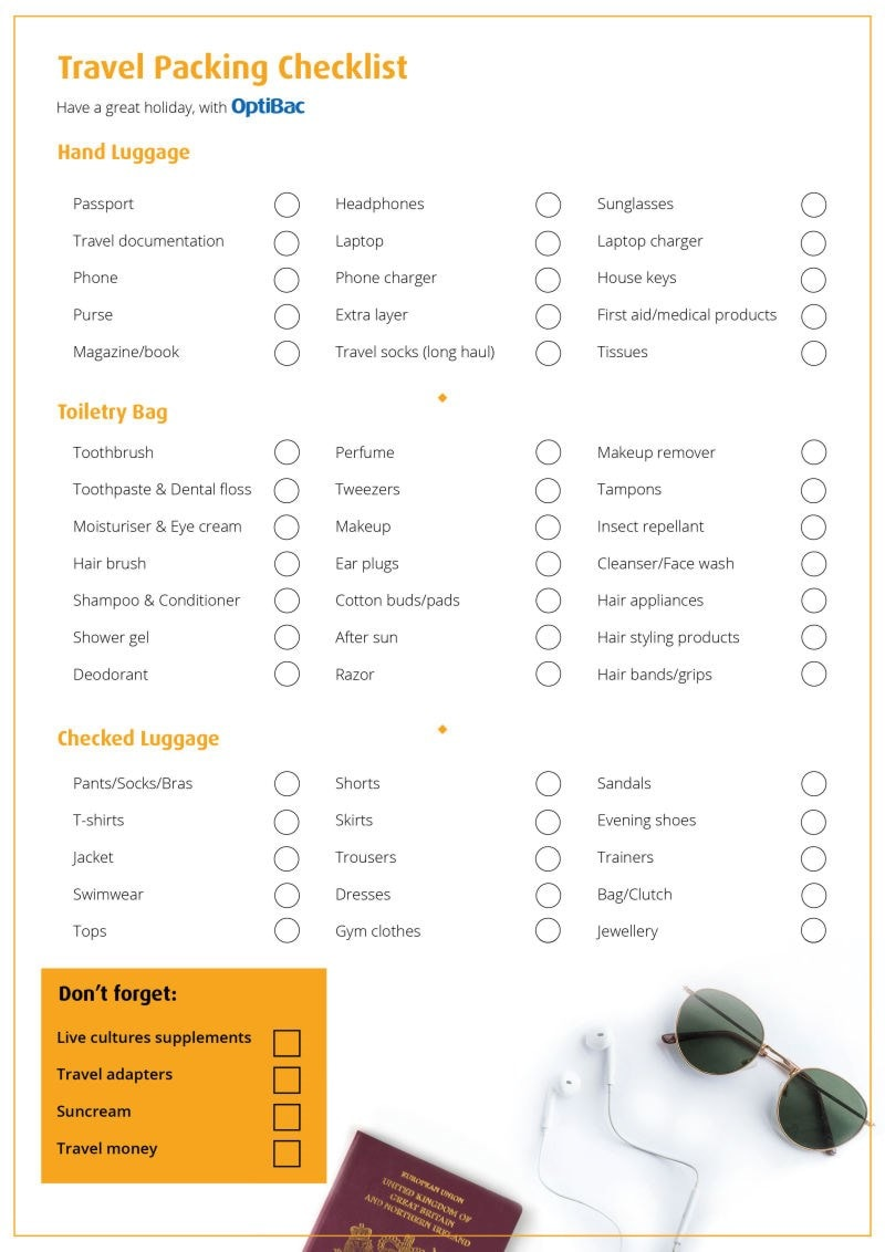 OpetiBac poster - Travel Packing Checklist