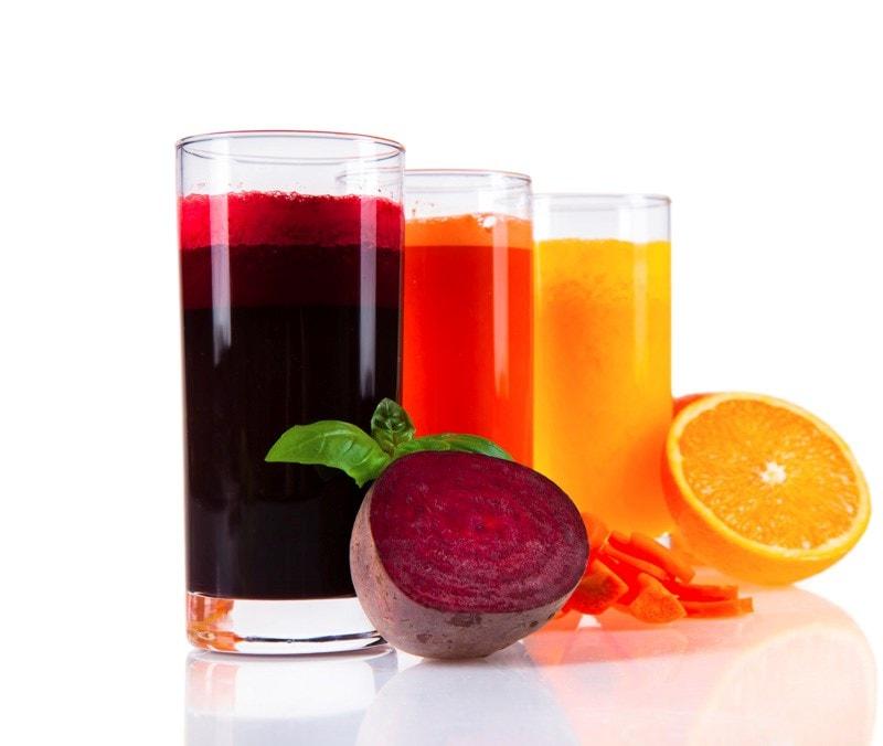 Beetroot, carrot and orange juice drinks