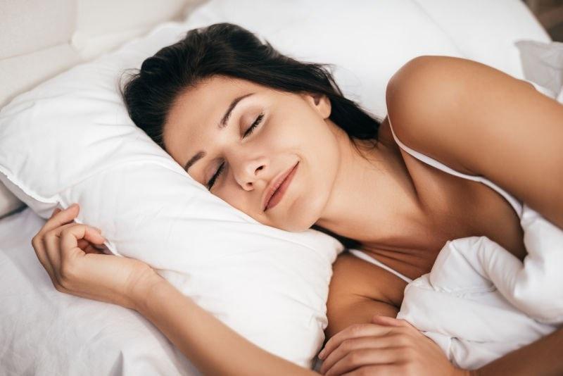 Lady sleeping happily