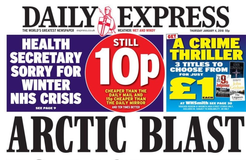 daily express front cover