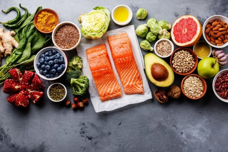 Salmon fresh fruit and vegetables