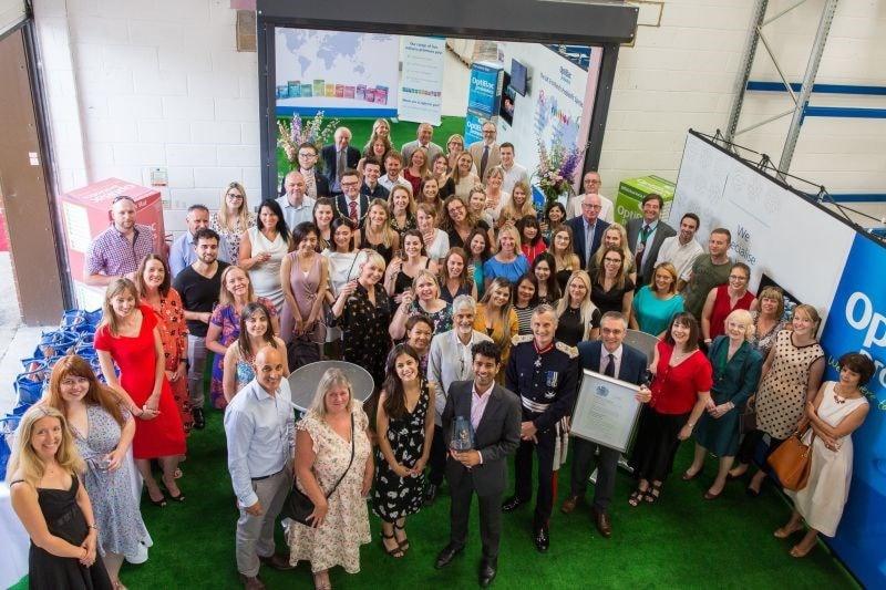 Queen's award photo of staff