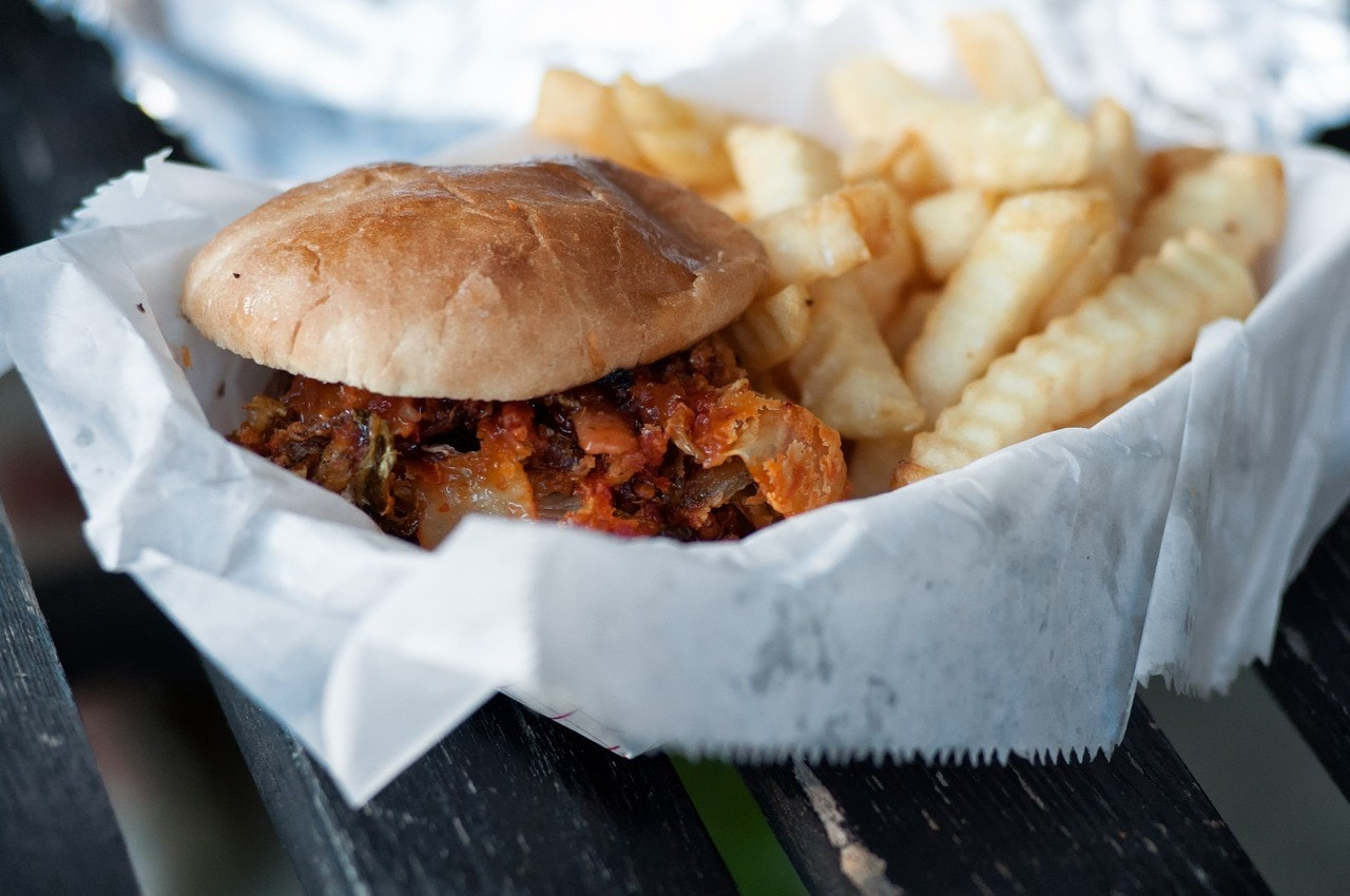 takeaway burger and chips
