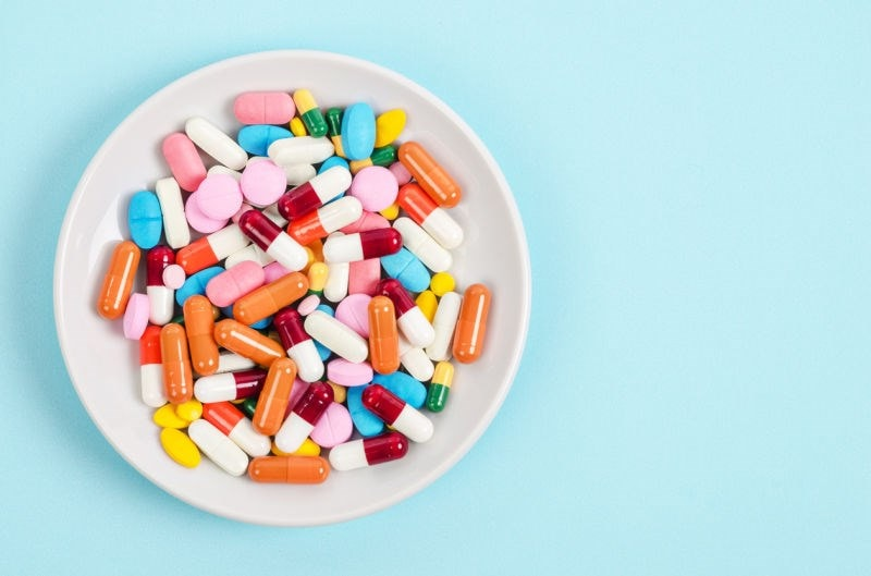 mixed pills on a plate