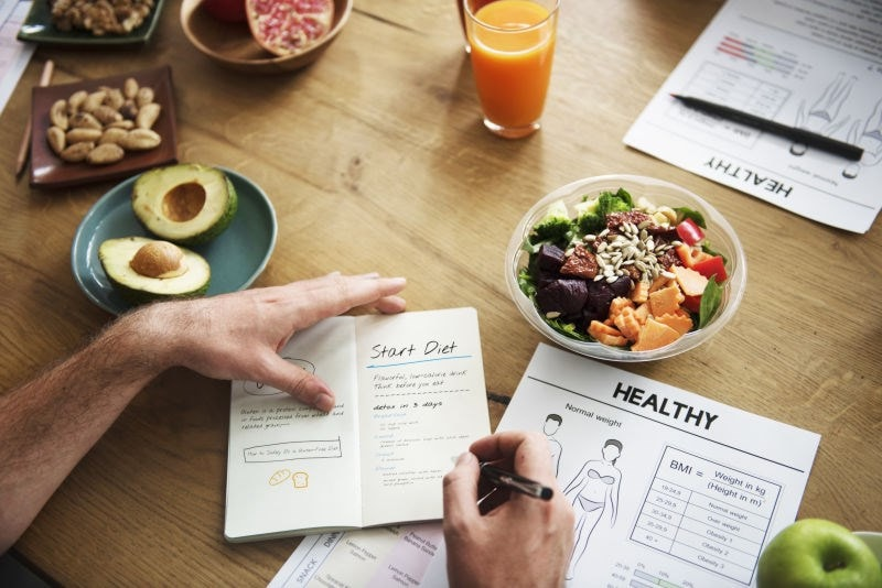 Diet plan with healthy food