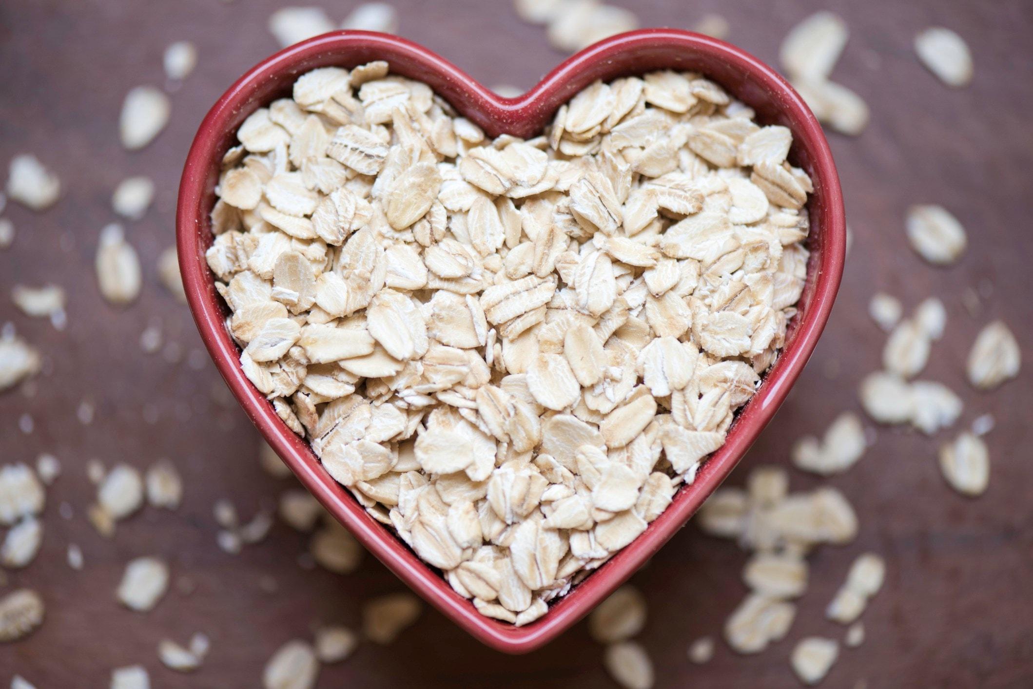 Oatmeal in a heart shaped bowl