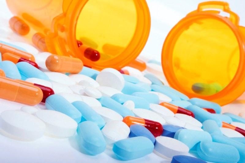 a spread of antibiotics