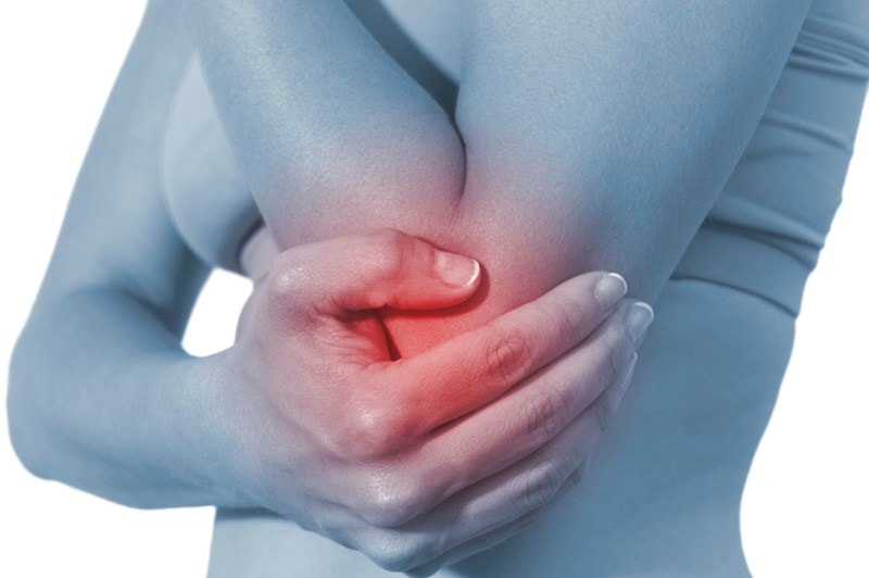 person holding their inflamed elbow