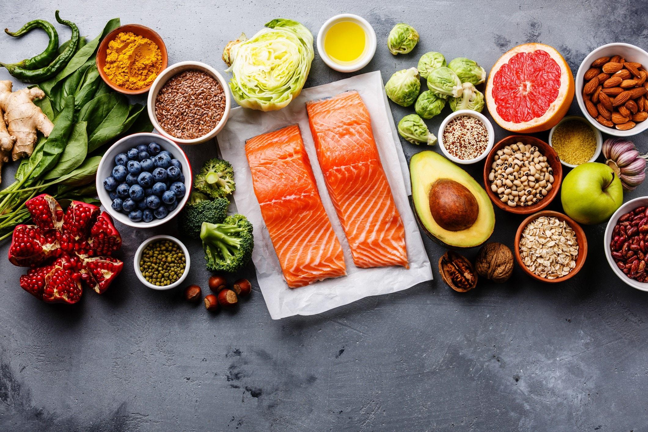 fresh salmon, seeds, veg and fruit