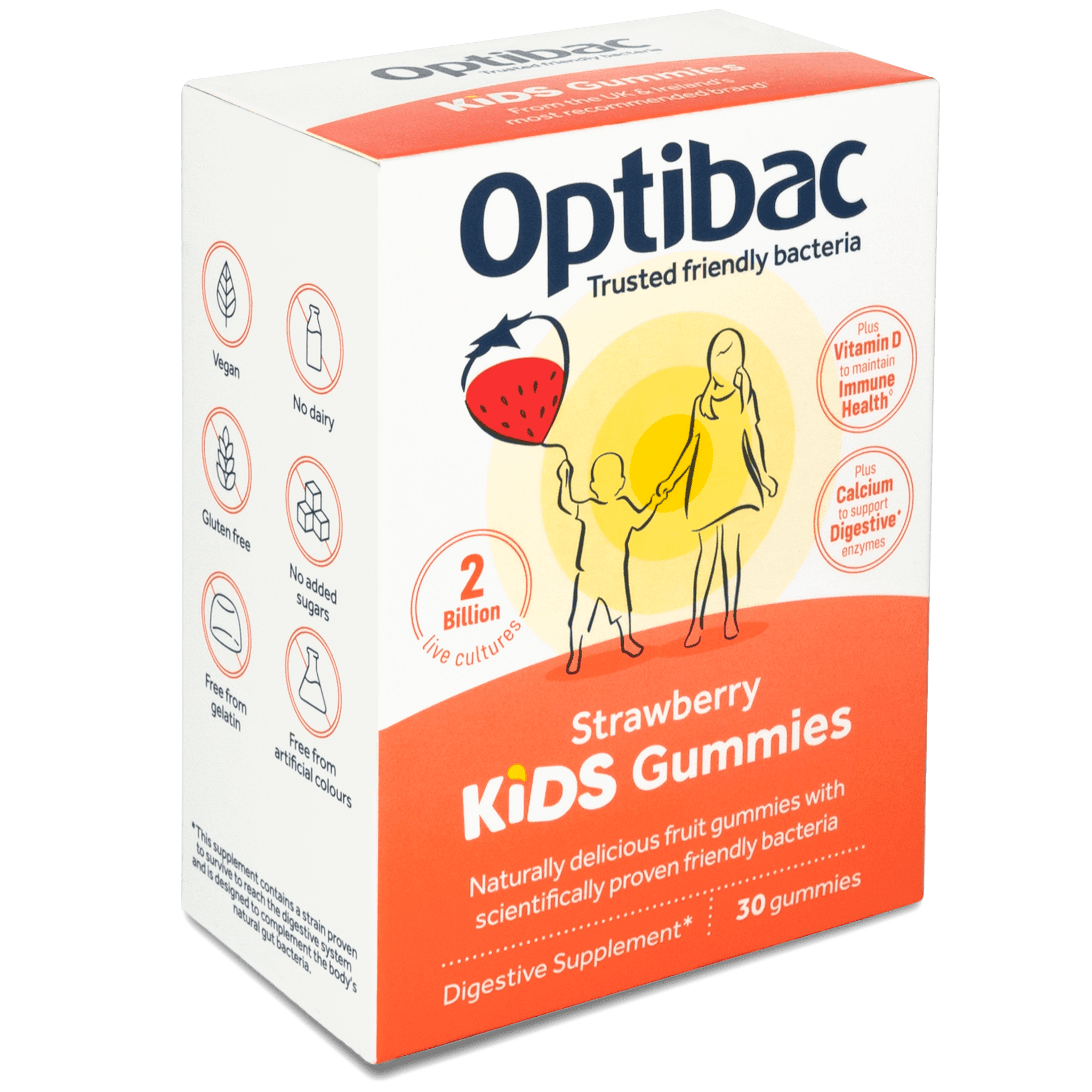 Optibac Probiotics | Kids Gummies | angled | 30 gummies