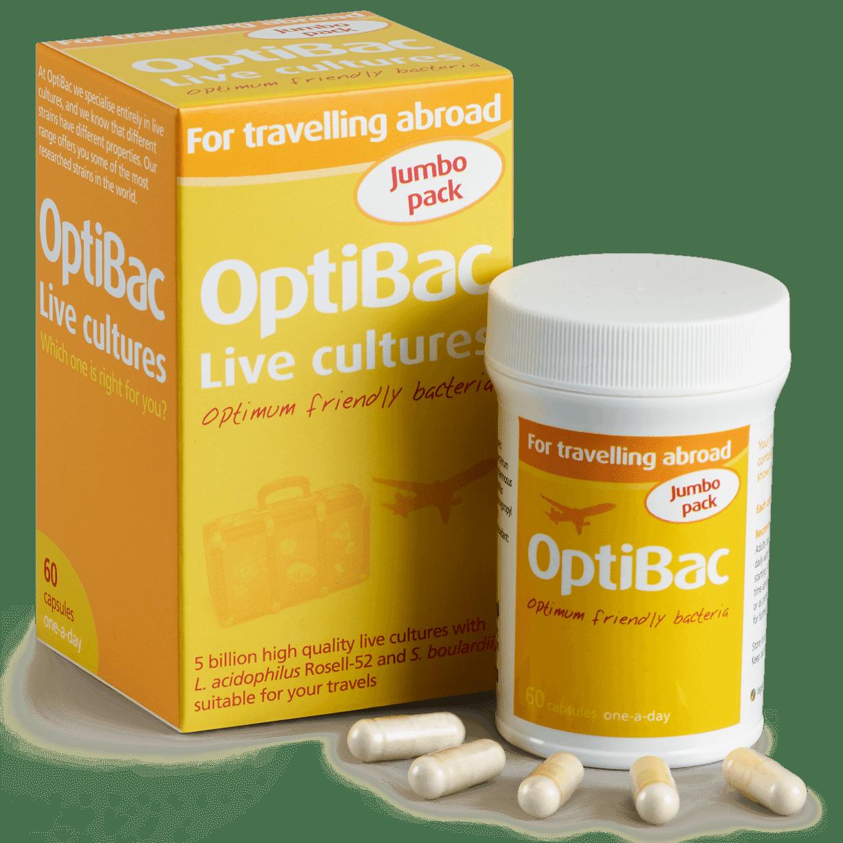 Optibac Probiotics UK | For travelling abroad | contents | 60 capsules