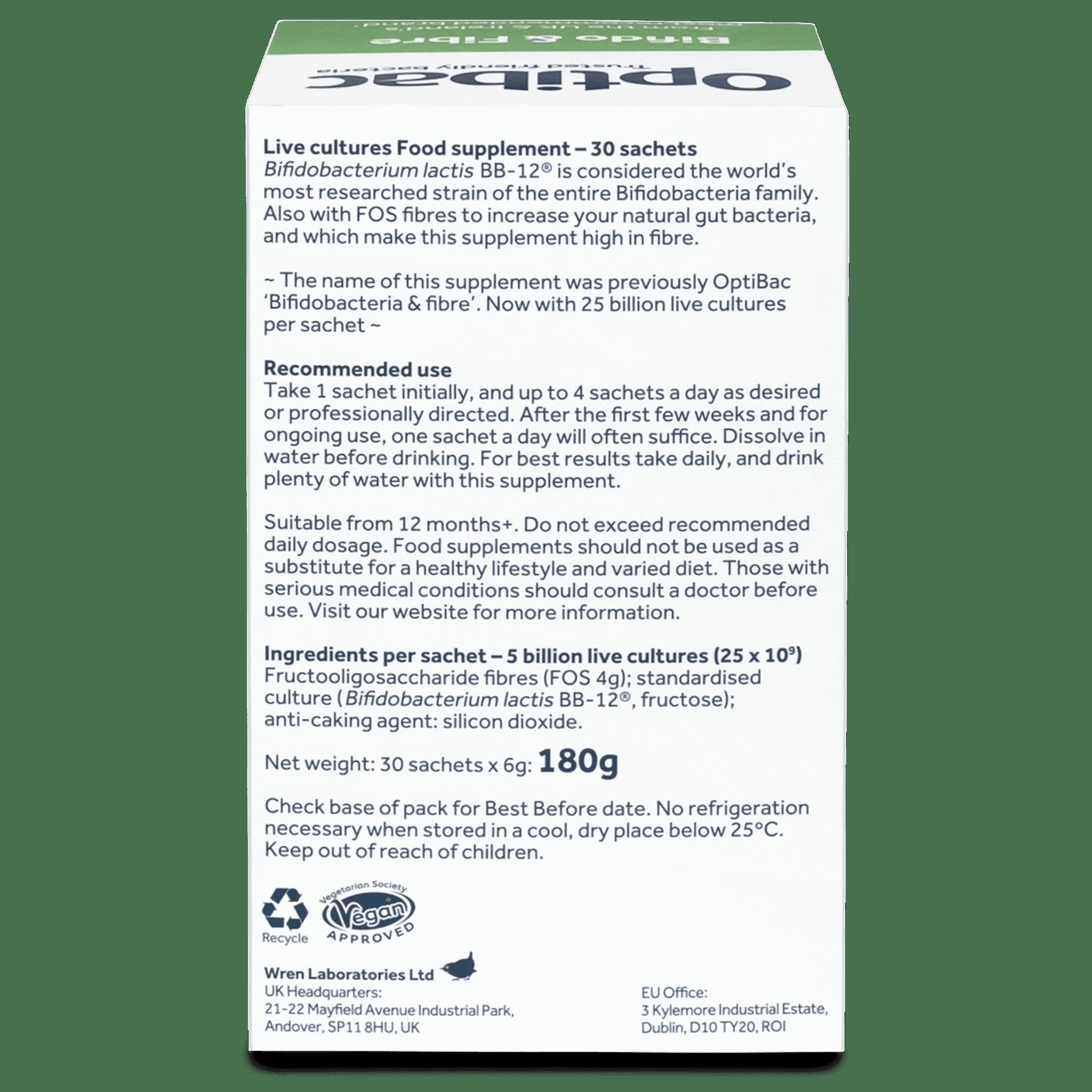 Optibac Probiotics UK | Bifido & Fibre | back of pack | 30 sachets