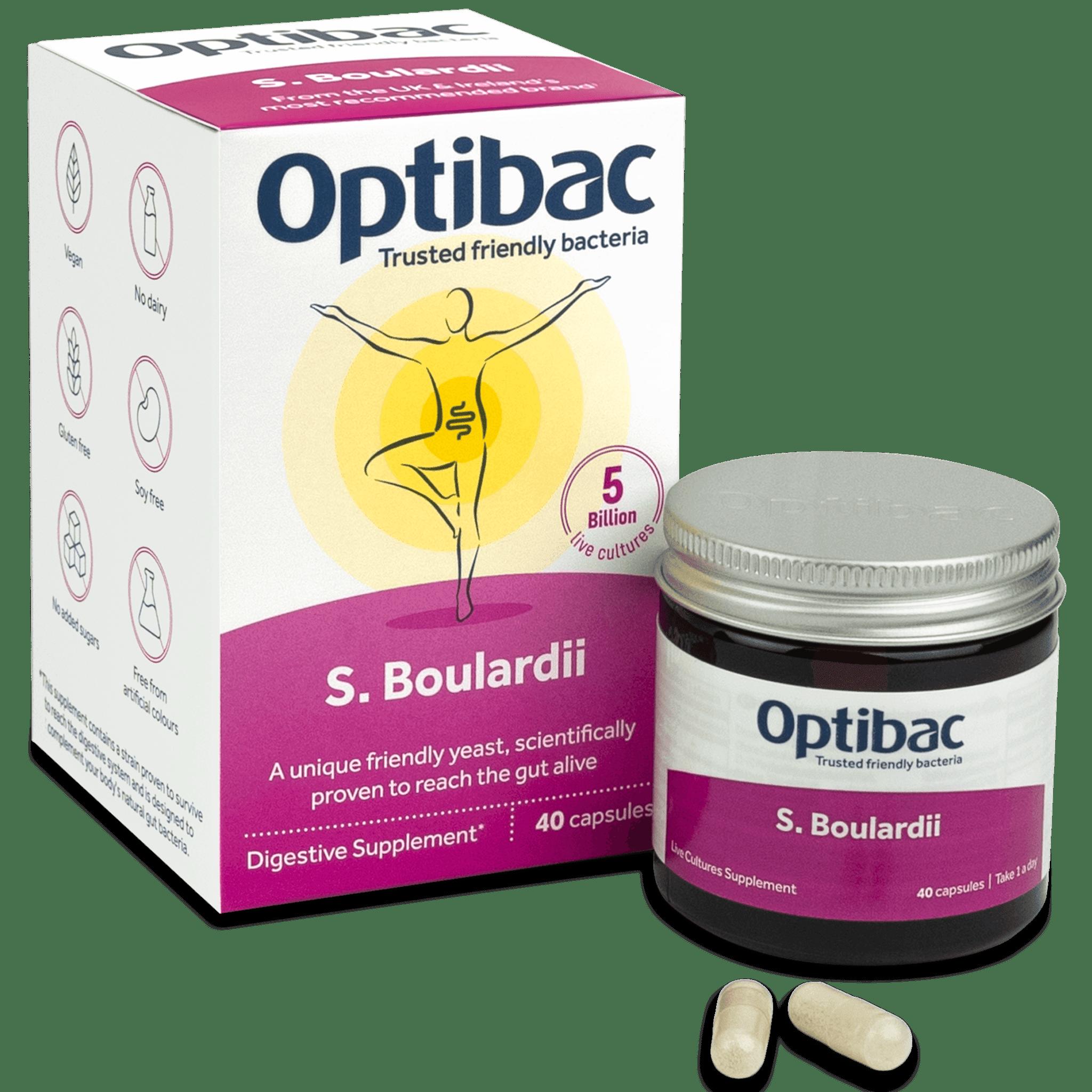 Optibac Probiotics Saccharomyces boulardii (40 capsules) pack contents
