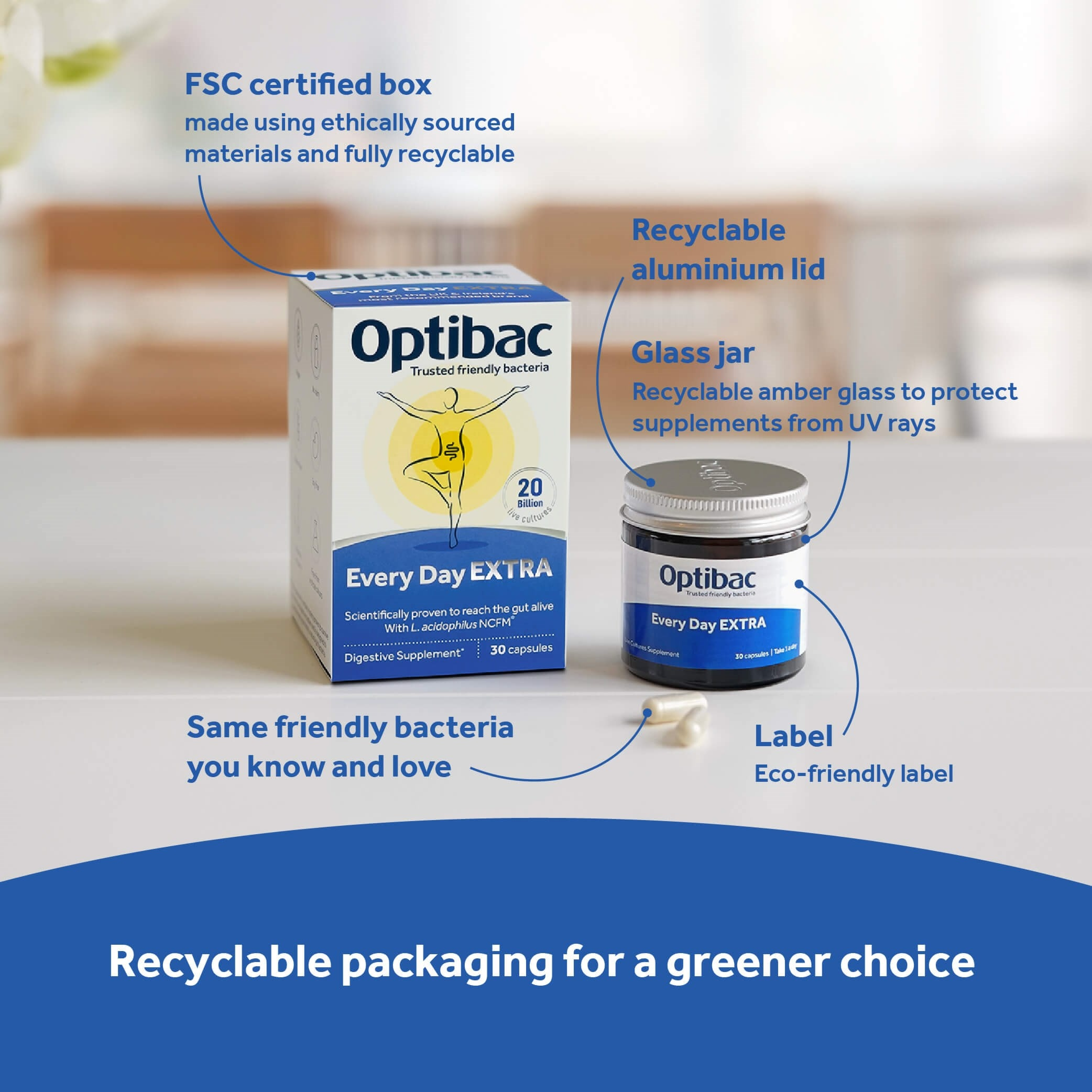 Optibac Probiotics Every Day EXTRA recyclable