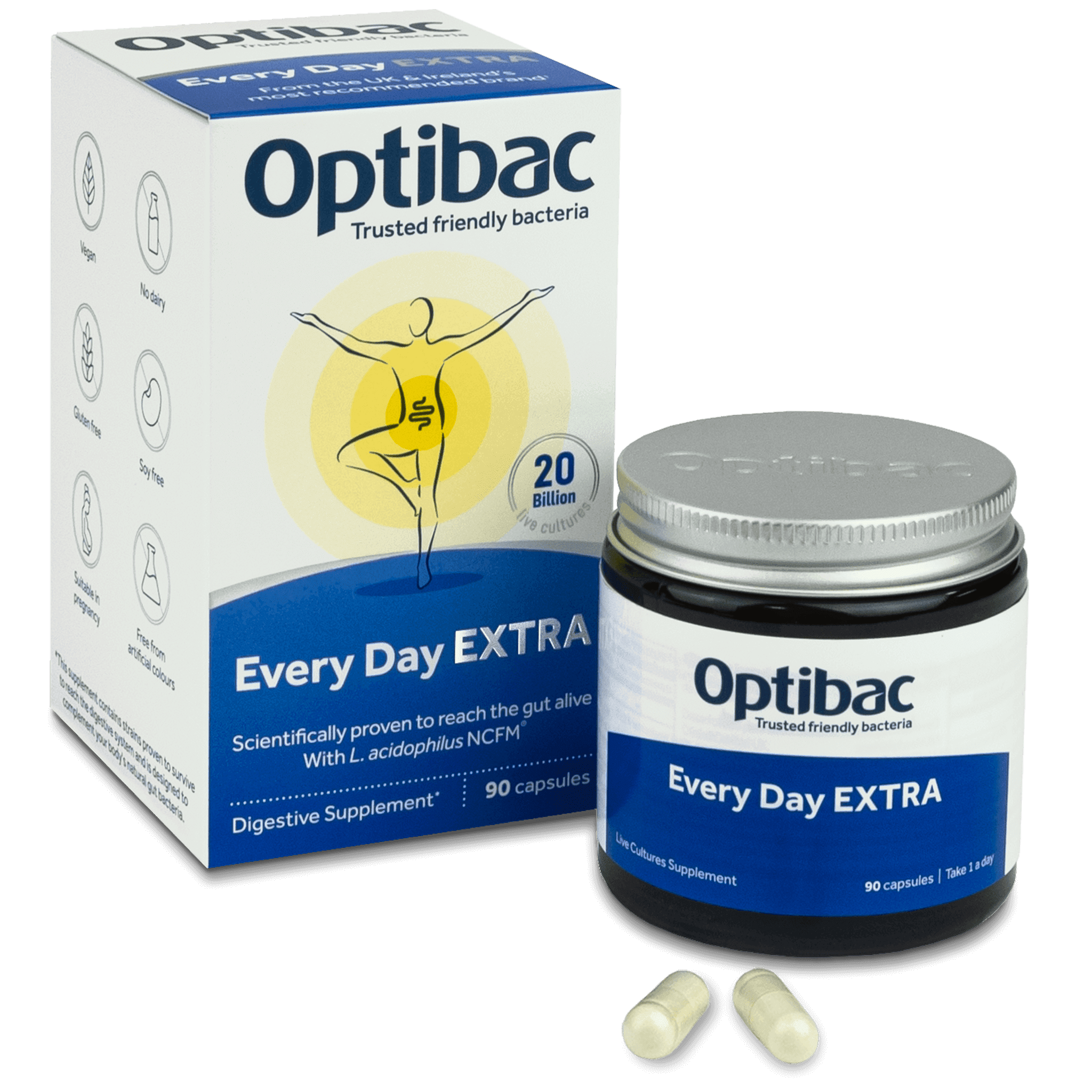Optibac Probiotics Every Day EXTRA (90 capsules) pack contents
