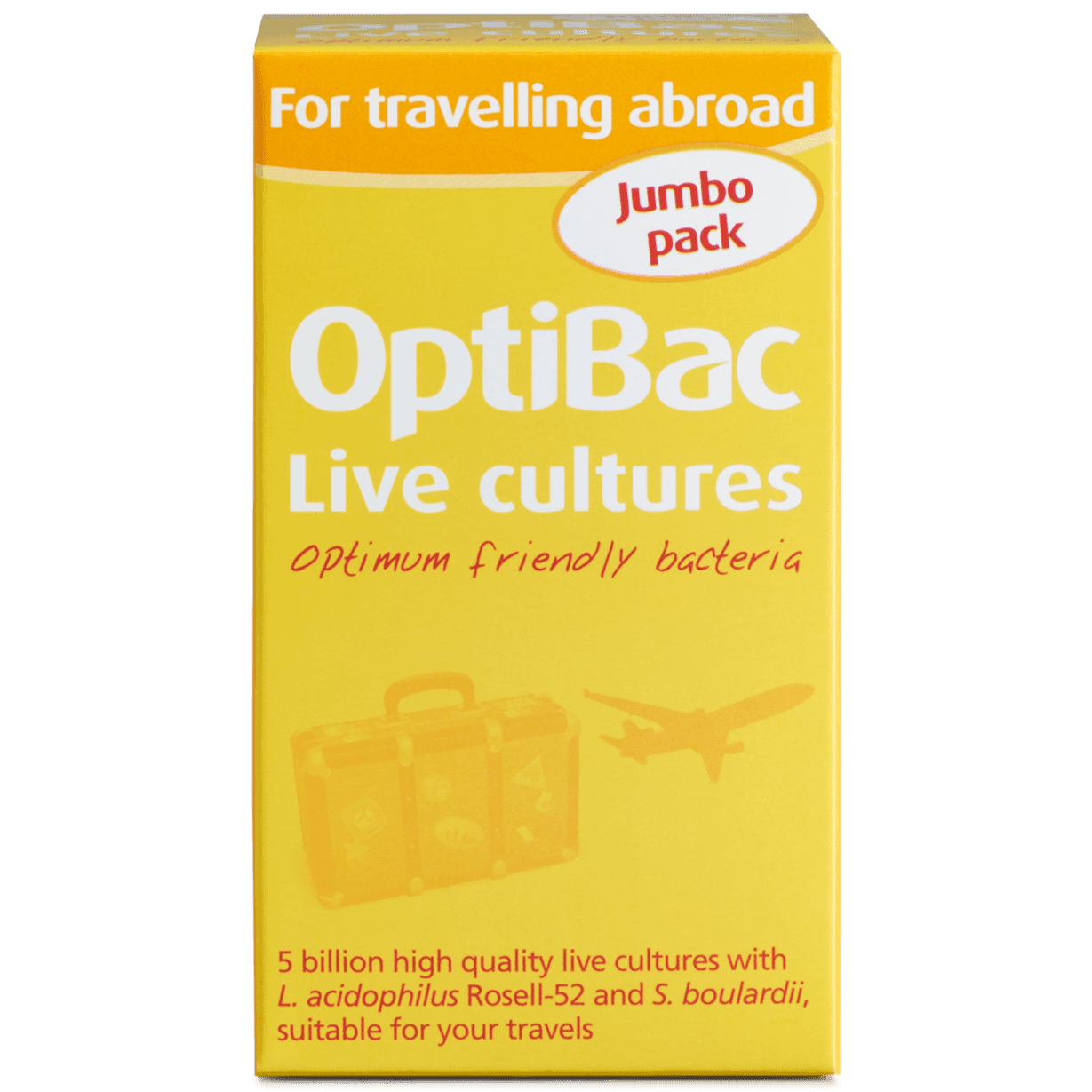 Optibac Probiotics UK | For travelling abroad | front of pack | 60 capsules