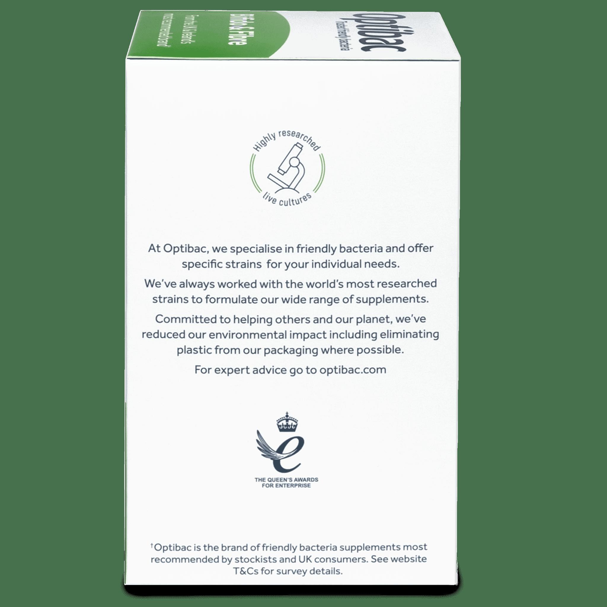 Optibac Probiotics Bifido & Fibre (30 sachets) pack side shot