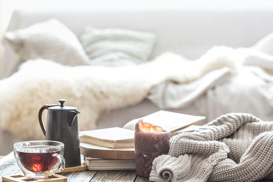 calm tea and candle