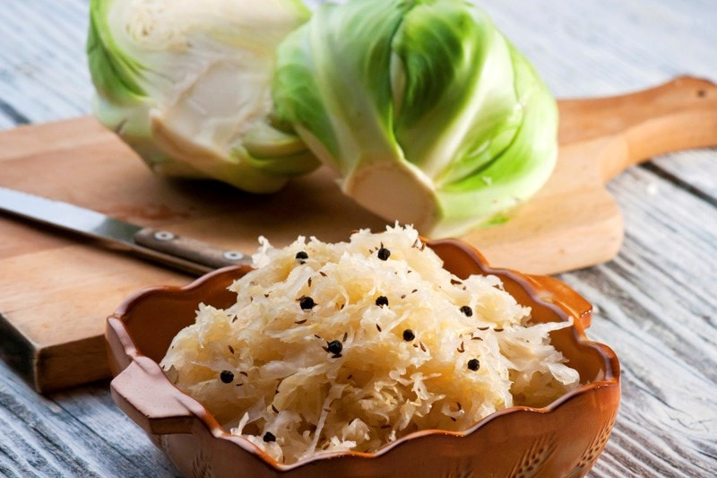 China bowl full of sauerkraut