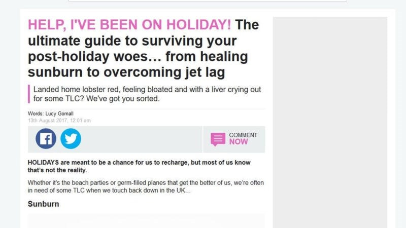 article help ive been on holiday