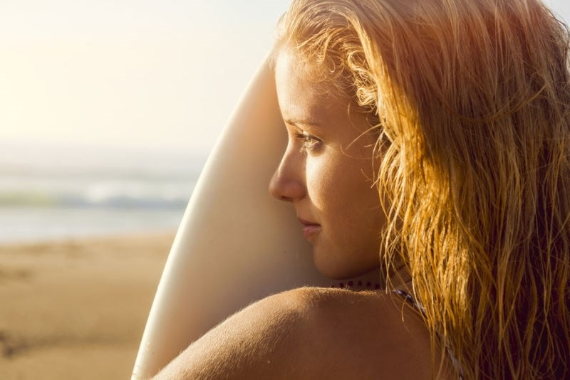 woman glowing in sunset