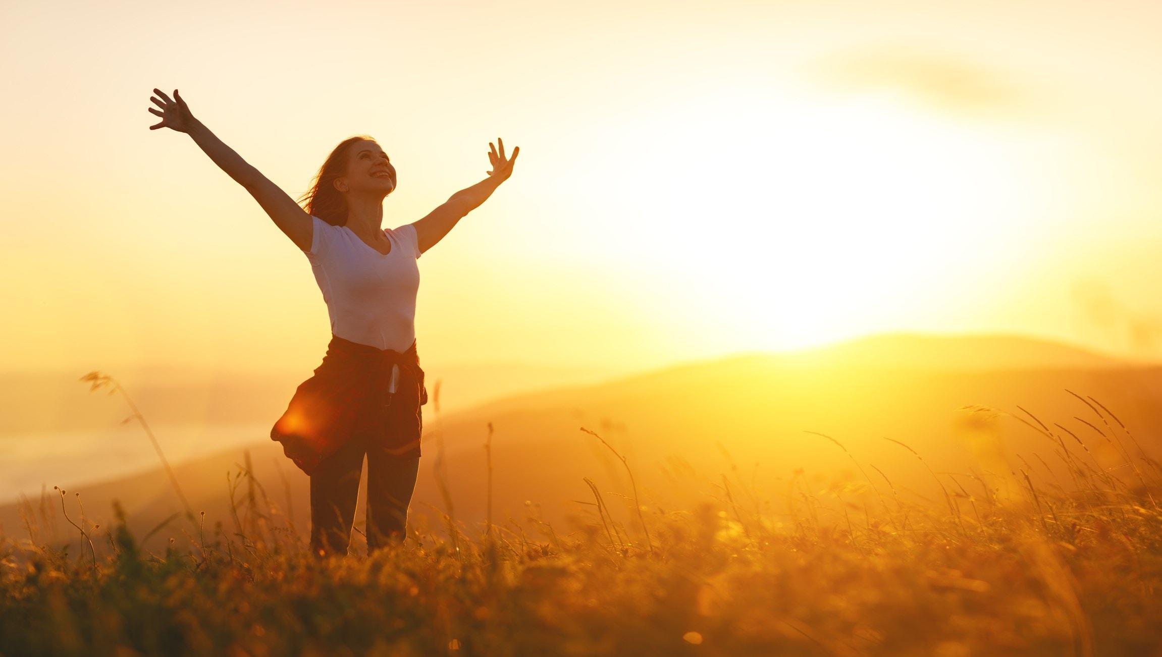 Lady absorbing sunshine