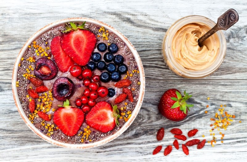 smoothie bowl with fresh fruit